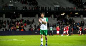 Séamus Coleman after Ireland's goalless draw away to Denmark in Aarhus. Photograph: Ryan Byrne/Inpho