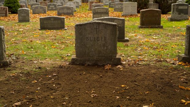 "The grave of James ""Whitey' Bulger at St Joseph's Cemetery in Boston, Massachusetts. Photograph: CJ Gunther/EPA"