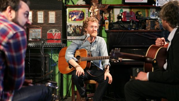 Glen Hansard of The Frames in O'Flaherty's Bar in Dingle for Other Voices.