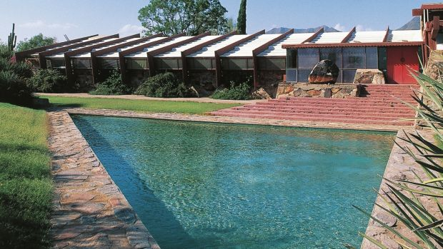 Pool at Taliesin West, by Frank Lloyd Wright, Scottsdale, Phoenix, Arizona.