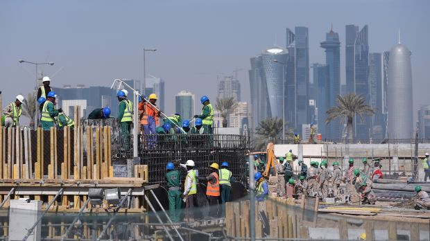 The Doha skyline can be seen in the background as construction continues on stadiums. Photo: Pressefoto Ulmer\ullstein bild via Getty Images