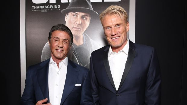 Sylvester Stallone and Dolph Lundgren at the premiere of 'Creed' in 2015: 'I guess it's pretty unusual to make five or six movies with someone over a 30-year period.' Photograph: Todd Williamson/Getty Images