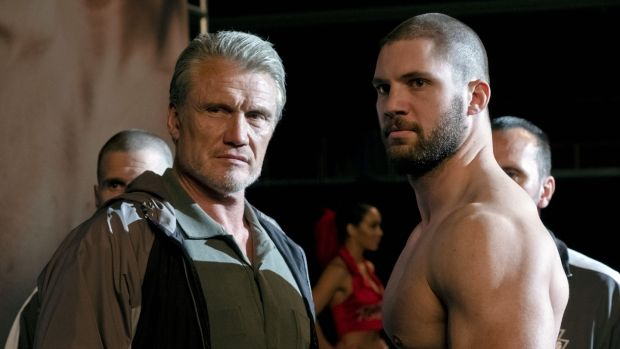Dolph Lundgren and Florian Munteanu as Ivan and Viktor Drago in 'Creed II'. Photograph: Barry Wetcher/MGM/Warner Bros