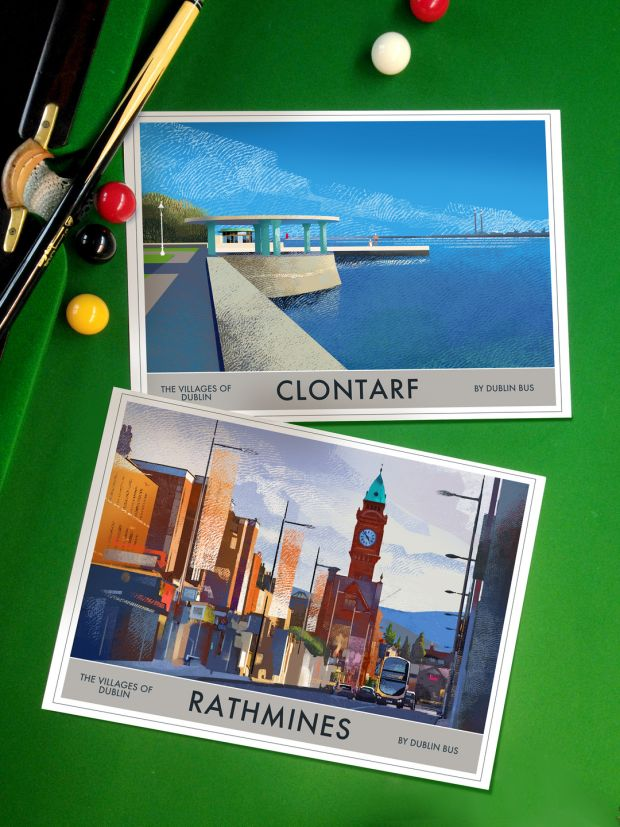 Posters of Clontarf, Rathmines and other part of Ireland, by Roger O'Reilly,€30-€40, irelandposters.ie