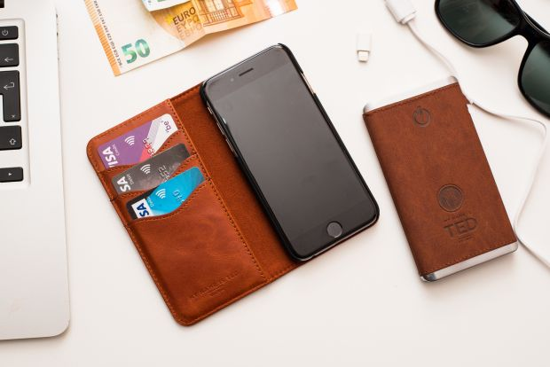 My Name Is Ted smartphone cardholder, €69, and ultraslim leather powerbank, €49, mynameisted.ie