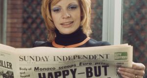 "French singer Séverine reads the Sunday Independent: ""The entertainment and the serious content were inextricable – chemically fused to expose the reader to views which challenged the consensus."" Photograph:   Rolls Press/Popperfoto/Getty"