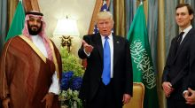 US president Donald Trump, flanked by White House senior adviser Jared Kushner, meets Saudi Arabia's Deputy Crown Prince Mohammed bin Salman at the Ritz Carlton Hotel in Riyadh, Saudi Arabia in May 2017. Photograph: Jonathan Ernst/Reuters