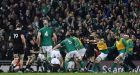 Ireland celebrate as  Jacob Stockdale scores the game's only try. Photograph: Clodagh Kilcoyne/Reuters