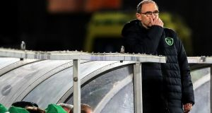Ireland manager Martin O'Neill looks on during the Nations League draw with Denmark in Aarhus. Photo: Ryan Byrne/Inpho