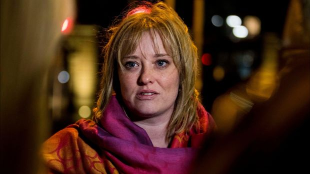 Mairia Cahill outside Buswells Hotel in Dublin after her meeting with Sinn Féin leader Mary Lou McDonald on Tuesday. Photograph: Liam McBurney/PA Wire.
