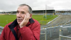 Weeshie Fogarty at Fitzgerald Stadium: his great love of football was evident in his career as a player, a referee and later as a broadcaster. Photograph:  Don MacMonagle