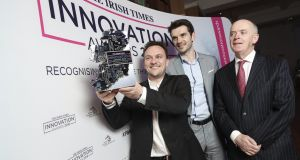 Overall winners: Danny Curran (director of growth) and Niall Dennehy (co-founder) from AID:Tech with The Irish Times managing director Liam Kavanagh at the Irish Times Innovation Awards 2018. Photo: Conor McCabe.