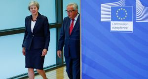 British prime minister Theresa May and European Commission president Jean-Claude Juncker ahead of meeting on October 17th. Photograph: Francois Lenoir/Reuters/File