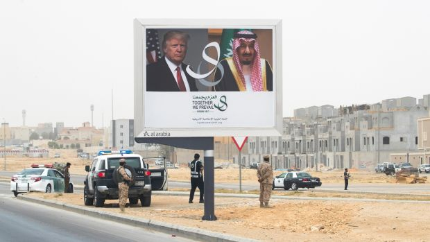 Billboards welcoming US president Donald Trump in Riyadh, Saudi Arabia, in May 2017. Photograph: Stephen Crowley/The New York Times