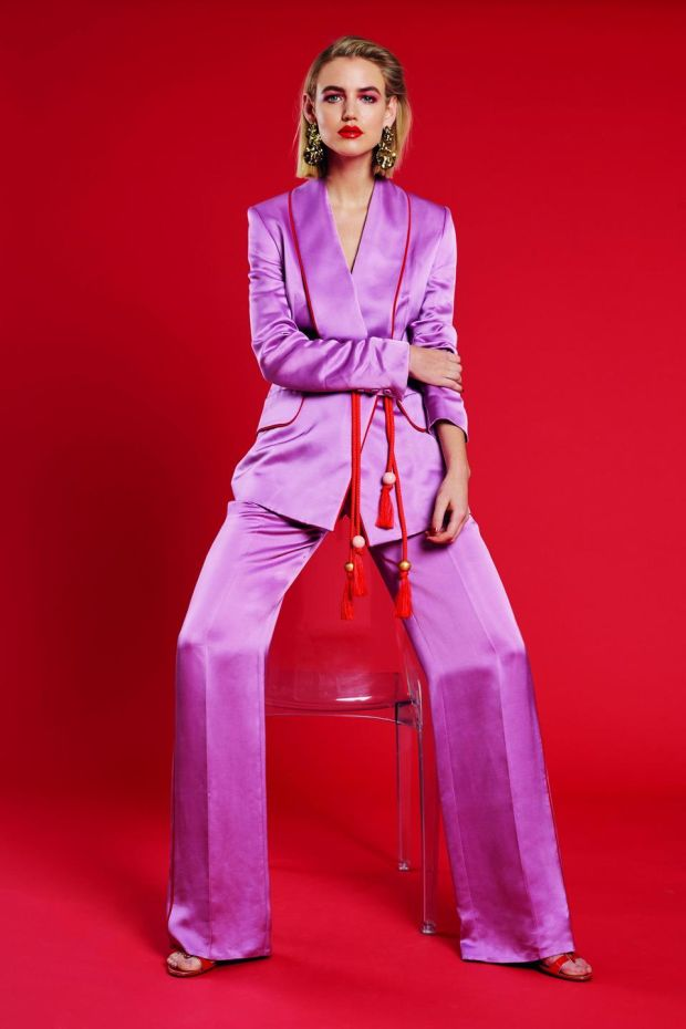 In the pink: Vanessa wears trousers, €1,310, and jacket, €1,310, both Peter Pilotto; earrings €149, Dryberg Kern; shoes, stylist's own