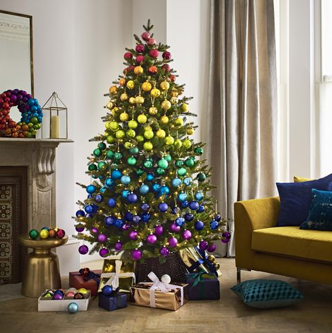 Rainbow Christmas tree: create a striking effect by layering colours to create a spectacular seasonal spectrum