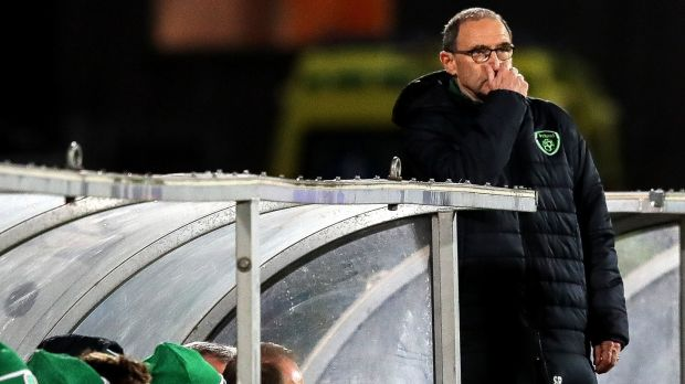 The end. O'Neill's final game came away to Denmark, as his side drew 0-0 in Aarhus. Photograph: Ryan Byrne/Inpho