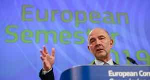 Pierre Moscovici said Greece's plan to run a surplus of 3.5 per cent of GDP would allow the government to cancel much-feared pension cuts. Photograph: Stephanie Lecocq/EPA