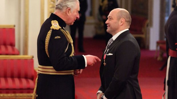 Rory Best is made an OBE (Officer of the Order of the British Empire) by the Prince Charles during an Investiture ceremony at Buckingham palace, London. Photograph: Yui Mok/PA Wire