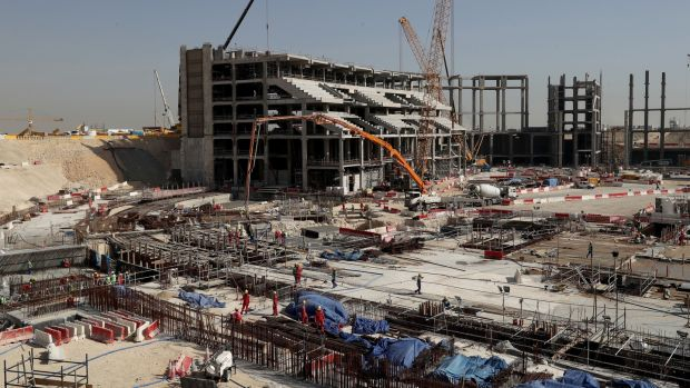 Construction at the Al Bayt Stadium which will have a capacity of 60,000 and host matches through to the semi-final round. Photo: Lars Baron/Bongarts/Getty Images