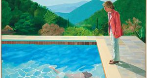 Portrait of an Artist (Pool with Two Figures) by  David Hockney Photograph: (David Hockney/Courtesy of Christie's Images LTD via AP)