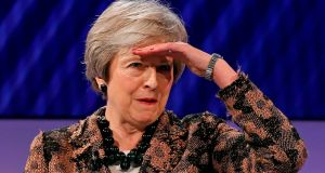 Theresa May searches for a question she can answer at the Confederation of British Industry conference in London on Monday. Photograph: Adrian Dennis/AFP