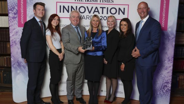 BidX1's Jonathan Fenn, Nicole Pomeroy, Stephen McCarthy, Gerardine Doyle (UCD), Adrienne Vuotto, Gillian Early, and Mike Murphy. The company won the New Frontiers category sponsored by UCD Michael Smurfit Graduate Business School.