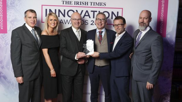 Brainwavebank's Yannick Tremblay, Alison Buick, Prof Mark Ferguson (Science Foundation Ireland), Ronan Cunningham, Brian Murphy, Tim Davison. The company won the Life Sciences and Healthcare category, sponsored by SFI.