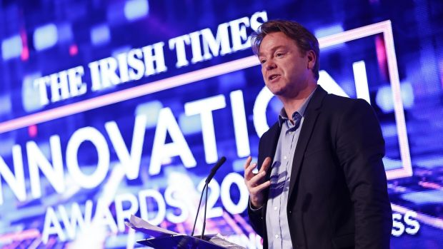 Irish Times columnist and MC on the night David McWilliams at the Irish Times Innovation Awards 2018. Photograph: Conor McCabe.