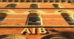 Cork, Ireland - November, 8th 2015: Facade of AIB Bank with AIB sign visible in the centre of the shot.