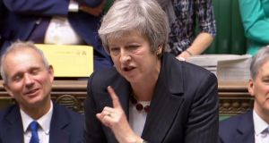 British prime minister Theresa May as she speaks during Prime Minister's Questions in the House of Commons on Wednesday. Photograph:  Ho/AFP/Getty Images