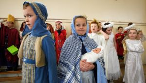 "Children prepare for a nativity play: ""Religion is filled with fantastical superheroes and stories."" Photograph: Frank Miller"