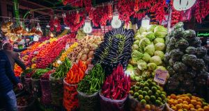 Fruit and vegetables on sale at Tehran's historic Tajirish Bazaar