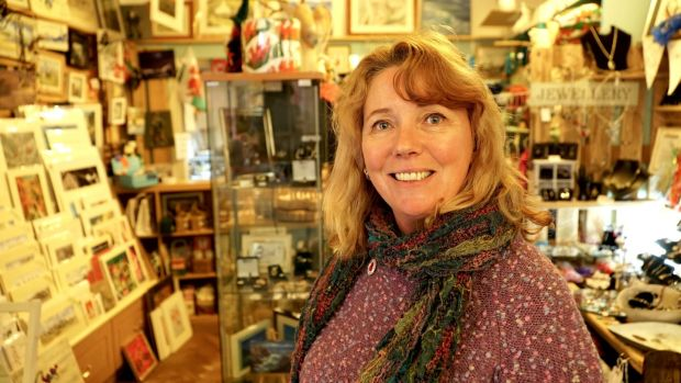 "Helen Evans of Holyhead craft shop LL65: ""I think we've kind of been misled by the press."" Photograph: Enda O'Dowd"