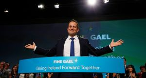 Taoiseach Leo Varadkar at the  Fine Gael ardfheis. Since he  took over as leader the party has opened up a significant lead over Fianna Fáil in a succession of opinion polls.  Photograph:  Nick Bradshaw