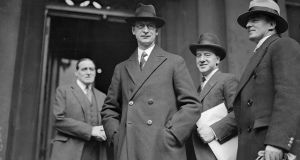 Éamon de Valera with members of his cabinet in December 1937 during the inauguration of the new Constitution, which further defined women's place as in the home. Photograph: Hulton Archive
