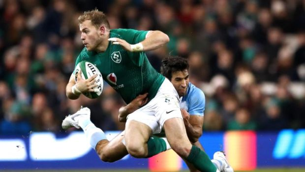 Ireland's Will Addison is tackled by Matias Orlando of Argentina. Photo: James Crombie/Inpho