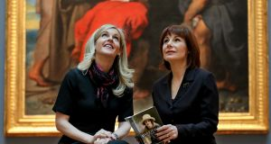 Minister  Josepha Madigan with author Sinead Moriarty at the announcement in the National Gallery of Ireland. Photograph: Tony Maxwell/Maxwells