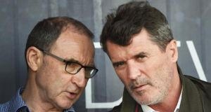 Former Ireland manager Martin O'Neill speaks to his assistant Roy Keane. Photo: Nathan Stirk/Getty Images