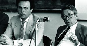 Professor Louden Ryan (right), then chairman of the National Planning Board in 1984 with Dr Peter Bacon, director of the board secretariat. Photograph: Paddy Whelan /The Irish Times .