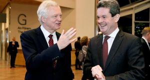 Former Brexit secretary David Davis and PwC managing partner Feargal O'Rourke at PwC's 'Fit for Growth' business forum at the Convention Centre Dublin on Wednesday. Photograph: Maxwell Photography