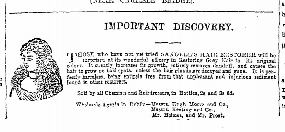 Sandell's Hair. The Irish Times – Saturday, December 8th, 1877.