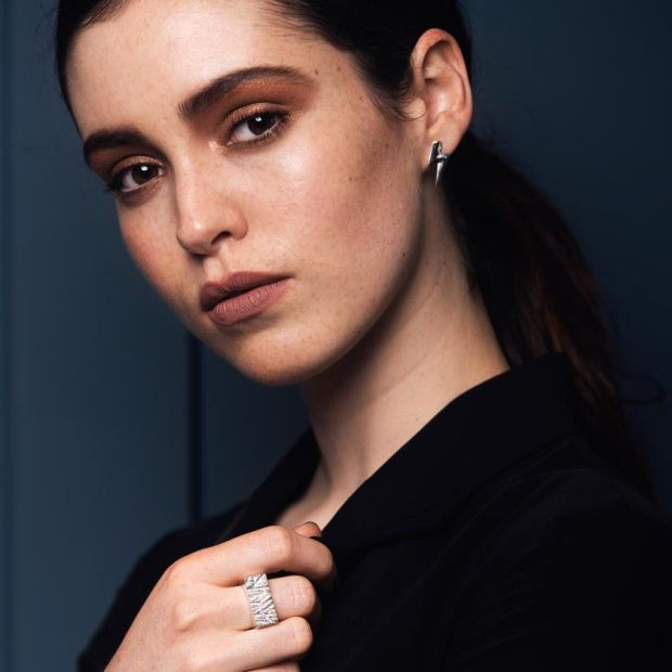 Edge Only rugged ring, €289, and 3D Flat Top Lighting silver bolt earrings €139, Bloss, Dundrum Town Centre, Dublin.