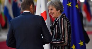 British prime minister Theresa May with European Council President Donald Tusk. File photgraph:  Ben Stansall/ Getty