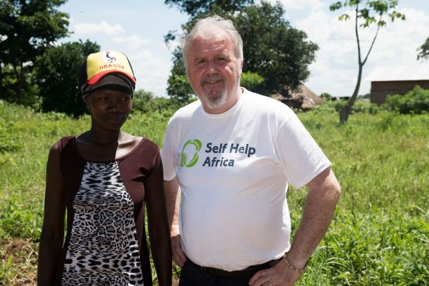 Ronan Scully with farmer Grace Kituma in Kayunga, East Uganda. Photograph: Andrew Downes