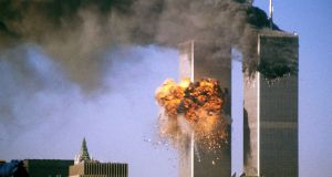 World Trade Center on the day of the 9/11 attacks: Labour adviser Jo Moore famously suggested it was a good day for the British government to bury bad news. Photograph: Sean Adair/Reuters