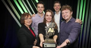 From left:  Cathriona Hallahan, Managing Director of Ireland presenting the Academic Research AI Award to Brian Murphy, Oksana Semenova,  founder of AI Award Ireland Mark Kelly, and Andriy Temko from the Infant Research Centre, University College Cork. Photograph: Conor McCabe