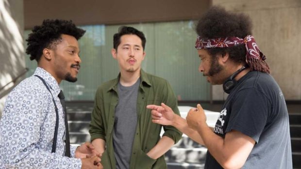 Sorry to Bother You: Boots Riley (right) on set with Jermaine Fowler and Steven Yeun