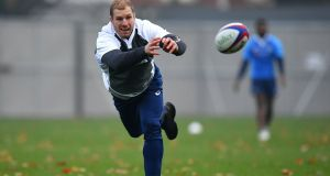 David Pocock passes the ball during an Australia training session in London on Thursday. Photograph:  Dan Mullan/Getty Images