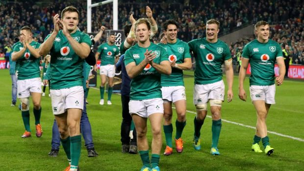 The Ireland players do a lap of honour after their victory. Photograph: Paul Faith/Getty Images